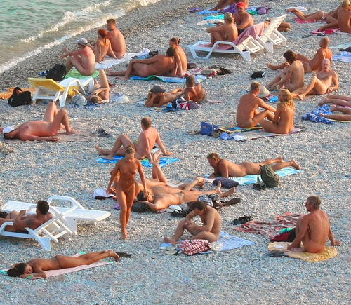 Crowded Nudist Beach